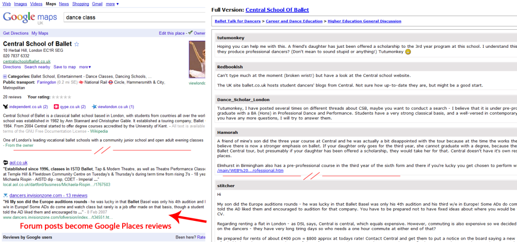 Forum posts show as reviews on Google Places