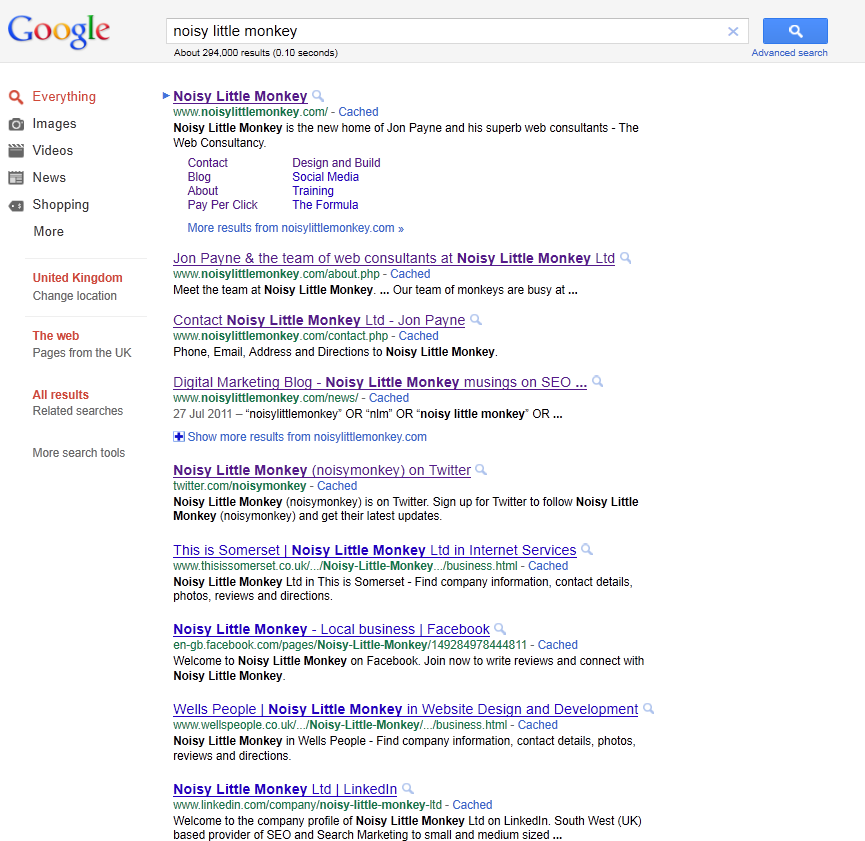 search results, signed out of google