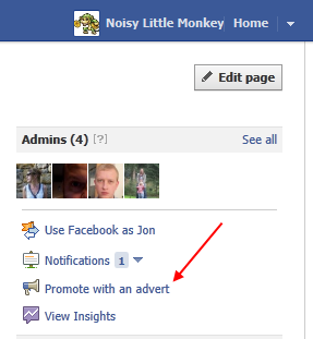 Promote with advert menu