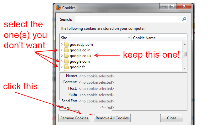 Firefox - remove cookies - step 2