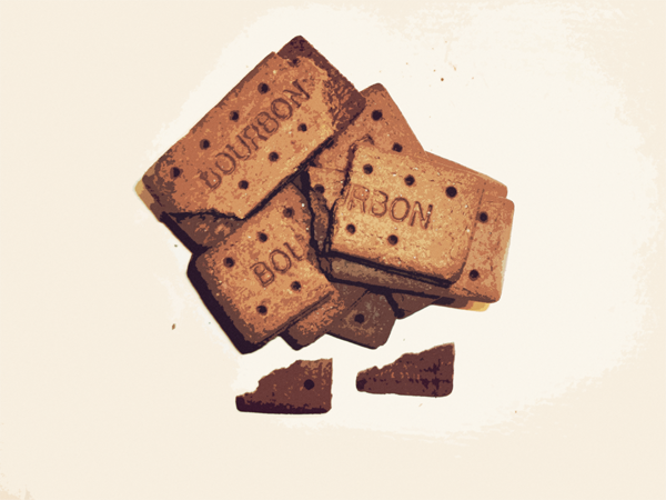 Broken Bourbon Biscuits