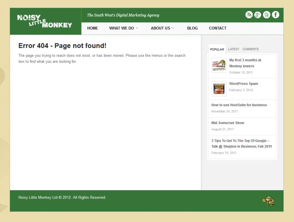screen shot of a 404 error