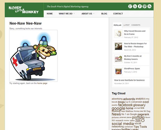 cartoon monkey in an ambulance with 404 error
