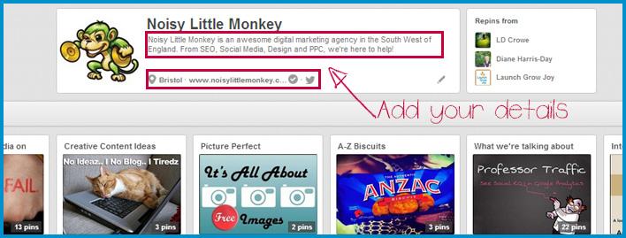 Screen shot of pinterest details
