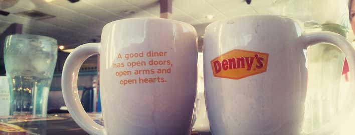 Denny's mugs are on message