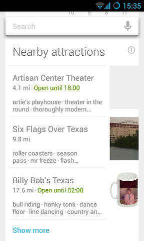 Google Now Screenshot - Nearby Attractions