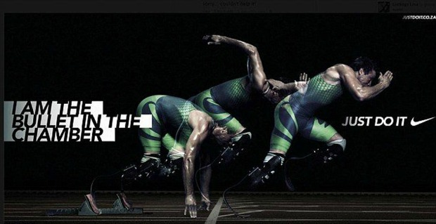 The poster of Oscar Pistorius running titled 'I am the bullet in the chamber'