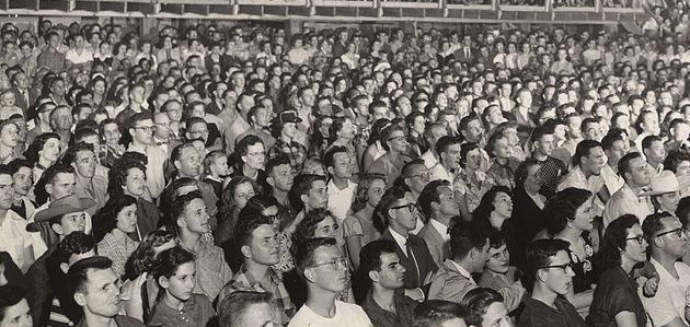 frontier-audience black and white image