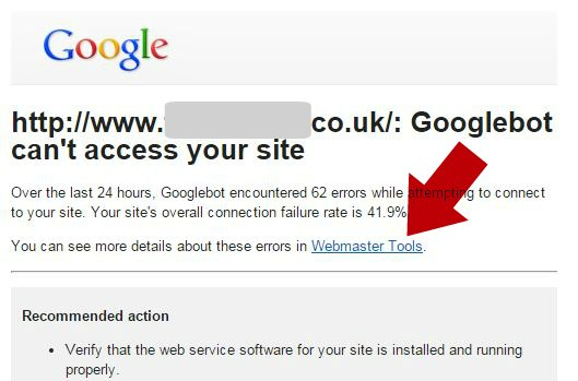 Google Search Console Downtime Email