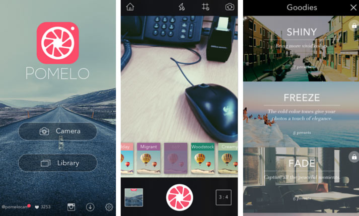 pomelo photo app screenshots