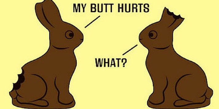chocolate bunnies with text