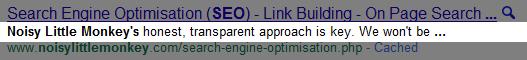 meta description - as seen on Google