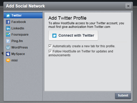 Step 2 - Connect with HootSuite Twitter