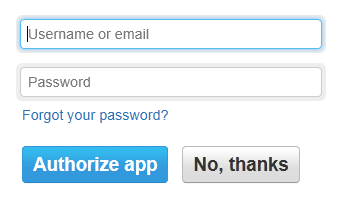 Step 3 - Authorise with your Twitter login