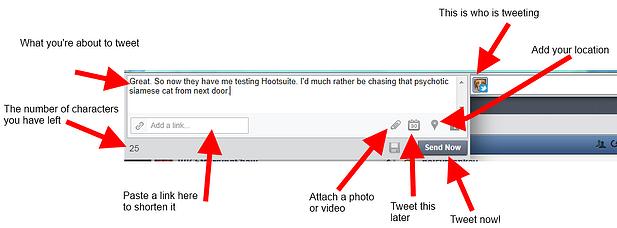 Composing a tweet in Hootsuite