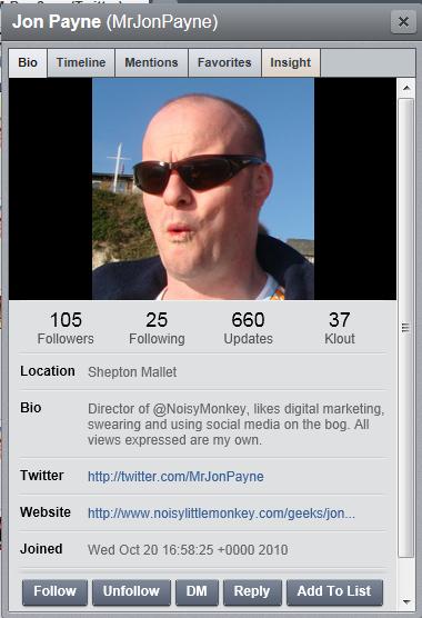 Twitter profile via Hootsuite
