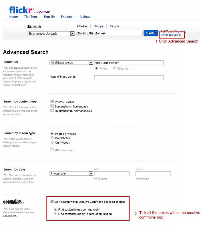 Using Flickr's Advance Search