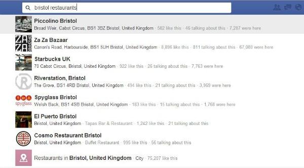 Graph Search - Bristol restaurants