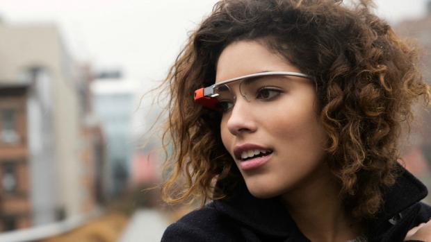A woman wearing the Google Glass