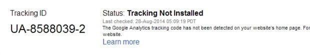 Google Analytics Status Message