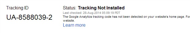 Google Analytics Status Message