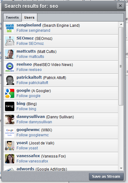 Hootsuite search results