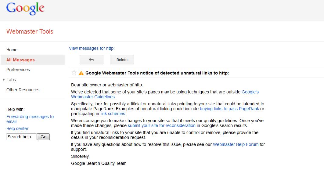 webmaster link warning