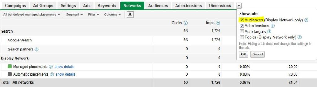 Google Audiences Tab