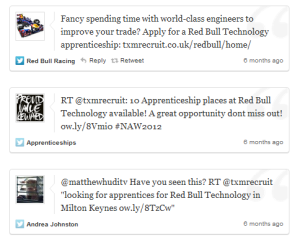 Tweets from Red Bull apprenticeship scheme