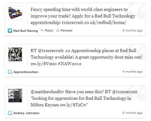 Tweets from Red Bull apprenticeship scheme