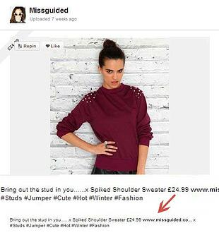 Missguided Hashtag pins