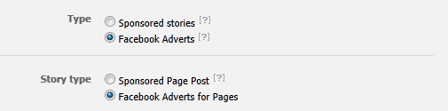 Advertising Facebook Page Options