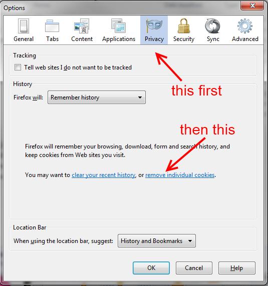 Firefox - Remove Cookies - Step 1