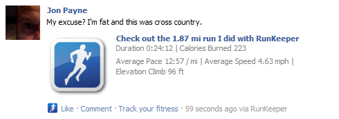 RunKeeper App in Facebook