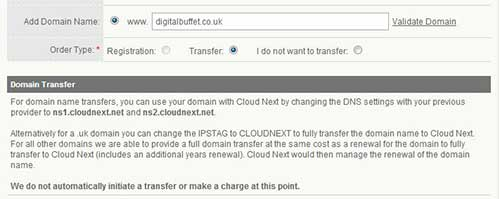 buying hosting - register or transfer a domain