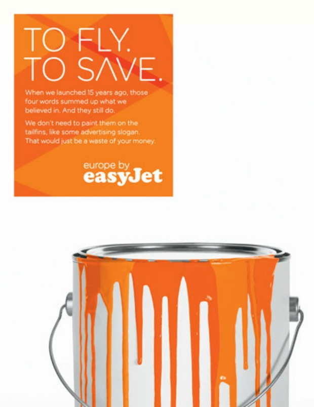 An EasyJet Poster using the same layout as British airways posters but replacing the words 'To Fly to Serve' with 'To Fly to Save'.