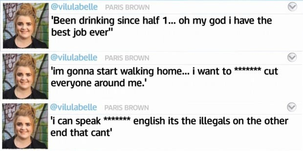 Screenshot of controversial Paris Brown Tweets