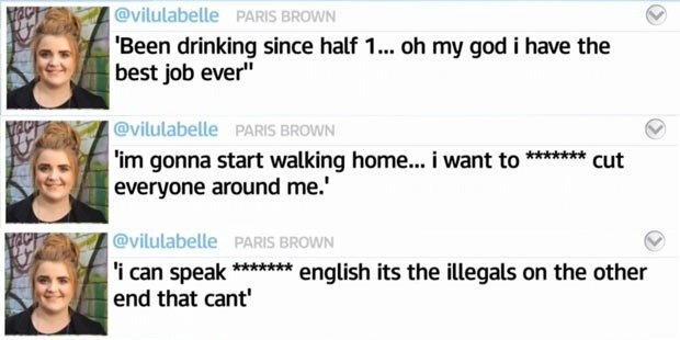 Screenshot of controversial Paris Brown Tweets