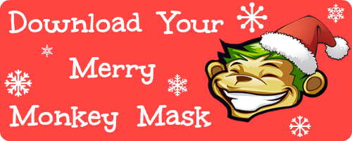Merry monkey mask button