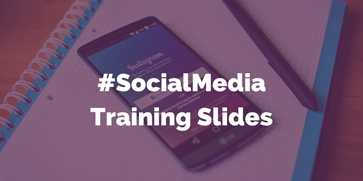 Social media training slides with Instagram on Mobile in background