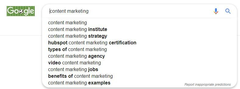 Example of suggested searches on Google