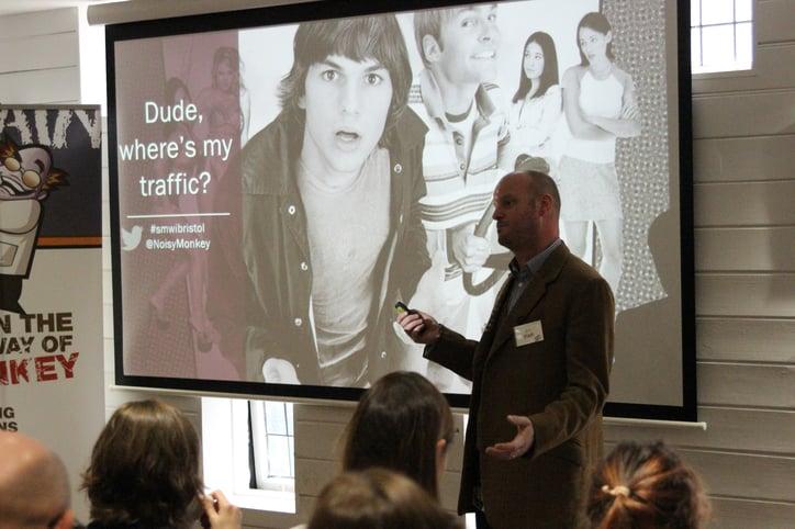 Jon starting his SMWBristol talk, 'Dude, Where's My Traffic?'