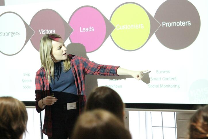 Holly pointing to a graph on the screen at SMWBristol 2016 event