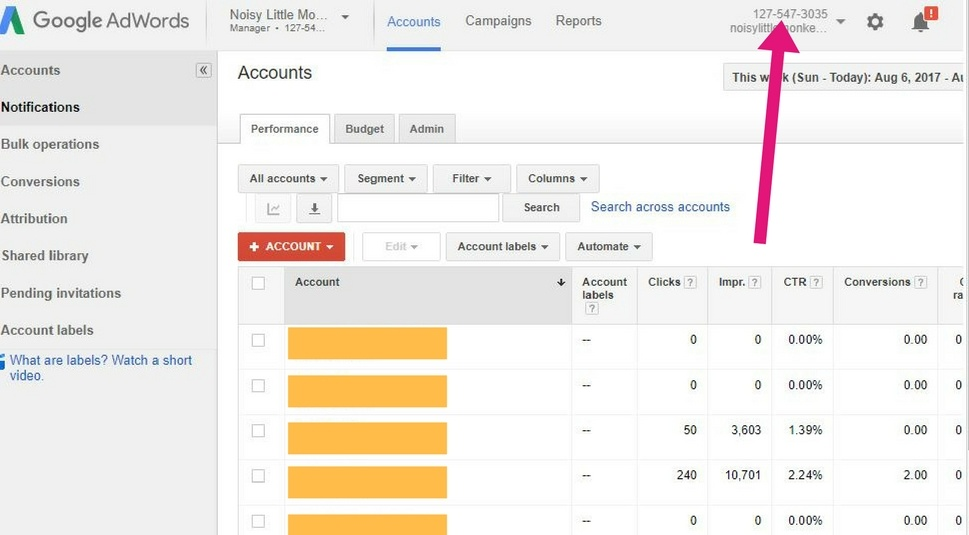 Linking Adwords and Analytics Step 1