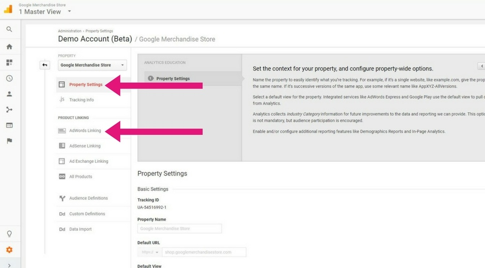 Linking Adwords and Analytics. Step 3