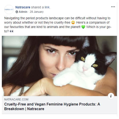 Screenshot of a post in the Natracare FB Group