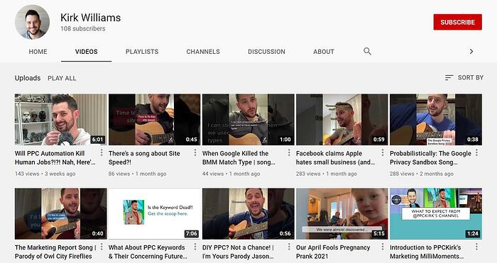 A screenshot of PPC Kirk's YouTube channel