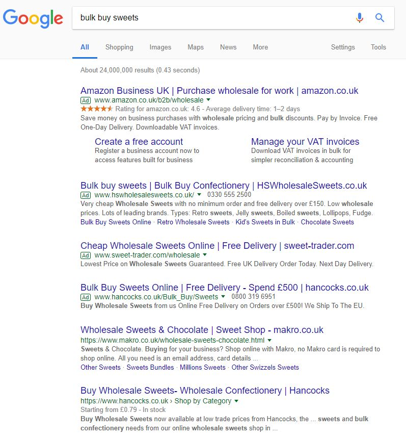 Screenshot of the search 'bulk buy sweets' on Google showing ads and organic traffic