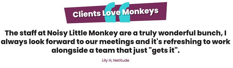 A screenshot from the Noisy Little Monkey website of a testimonial from a client