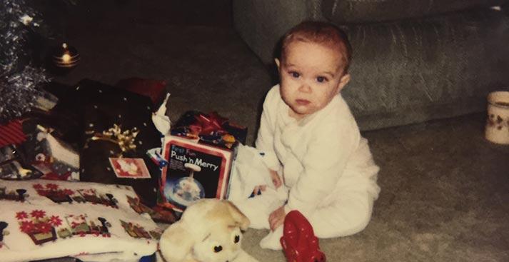 a baby at christmas